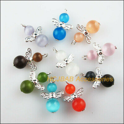 10Pcs Silver Plated Wings Mixed Cat Eye Stone Beads Angel Charms Pendant 16x26mm