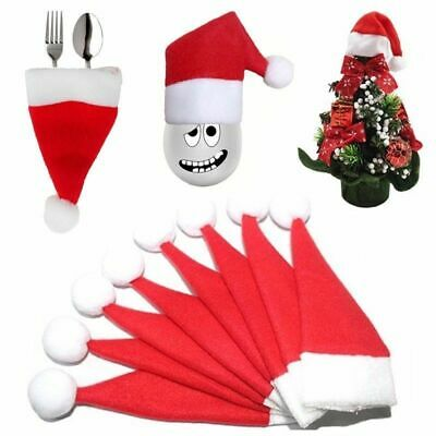 10Pcs Christmas Hat Silverware Holder Mini Red Santa Claus Cutlery Party Decor