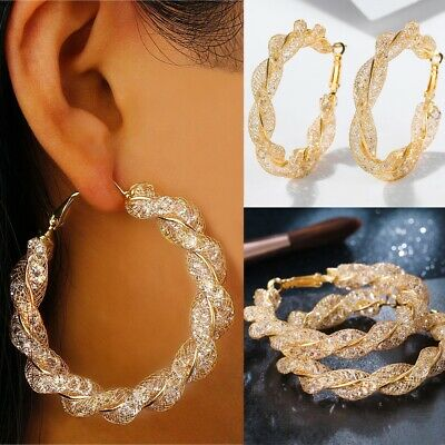 Round All-match Punk Big Circle Ear stud Gold plated Hoop Earring Hollow out