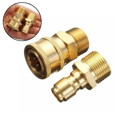 "3/8"" M22 Pressure Washer Brass Quick Release Adapter Connecter Coupling Kit"