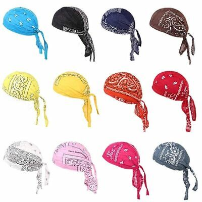 Men Durag Bandana Sport Doo Rag Scarf Head Tie Down Band Biker Cap Cool Simp #18
