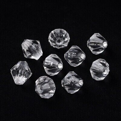 500pcs Bicone Shaped Clear Transparent Acrylic Beads Faceted 3mm DIY Beading
