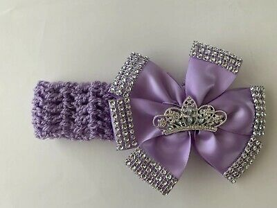 Baby Bling Romany headband lilac  Rhinestone Crown  0-12 Months.