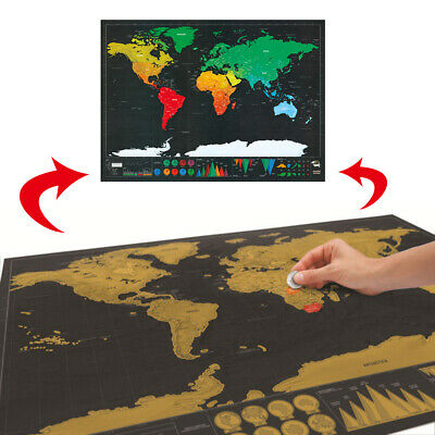 Deluxe Scratch Off World Map Poster Journal Log Giant Map Of The World Gifts Hot