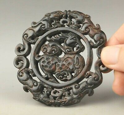 Chinese old natural jade hand-carved statue dragon and deer pendant 2.8 inch