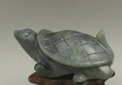 Chinese old jade hand-carved statue dragon tortoise  pendant 2.9 inch