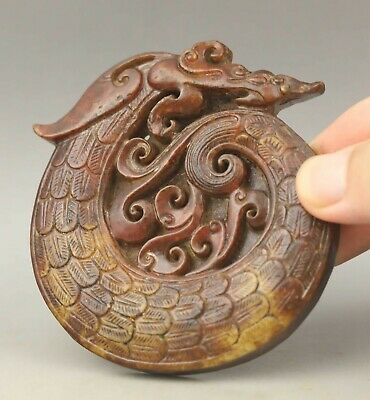 Chinese old natural jade hand-carved statue dragon pendant 3.2 inch