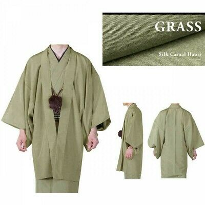 Japanese Mens Kimono HAORI Jacket Coat Silk Grass 4 Size Japan EMS