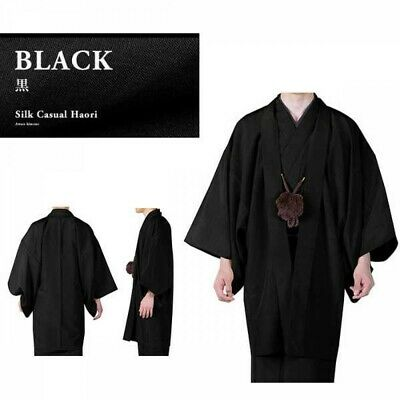 Japanese Mens Kimono HAORI Jacket Coat Silk Black 3 Size Japan EMS