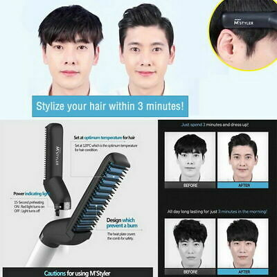 Quick Beard Straightener Hair Styler Multi functional Comb Curler Show Cap nQ