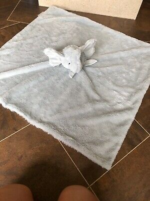 "MON LAPIN PALE BLUE ELEPHANT BABY FAUX FUR COMFORTER SECURITY BLANKET 30"" x 30"""