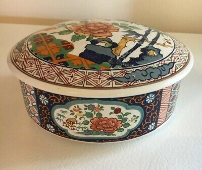Vintage Japanese Hand-painted Covered Bowls, Imari ware