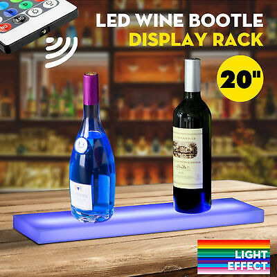 "44Key 20"" LED Lighted Back Bar Liquor Display Shelf Rack Wine Bottle Stand W/RC"