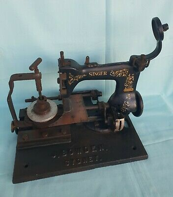 Antique SINGER Industrial Sewing Machine Vintage Tool Cast Iron Base by J.Bowden