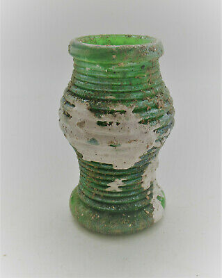 Circa 100-300Ad Roman Era Iridescent Glass Bottle Unusual And Rare Type