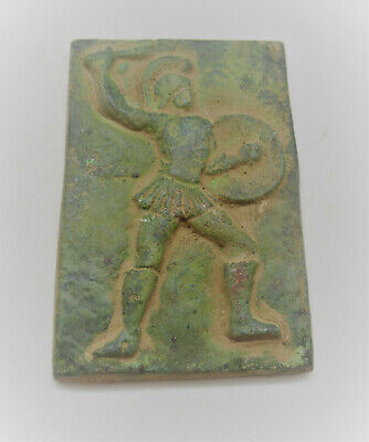 Very Rare Ancient Roman Bronze Panel Fragment Depiction Of Gladiator 200-300Ad