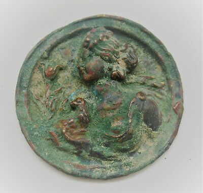 Rare Ancient Roman Bronze Mount Depiction Of Diana Showing Signs Of Gold Gilding
