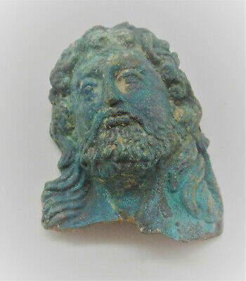 Museum Quality Ancient Roman Bronze Panel Fragment Bearded Male Figure