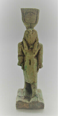 Beautiful Vintage Egyptian Glazed Faience Statuette Of Horus With Heiroglyphics