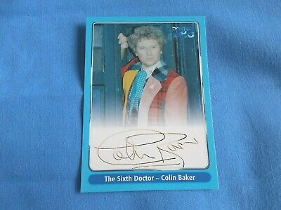 Doctor Who Autograph Card Colin Baker as The Sixth Doctor FADED