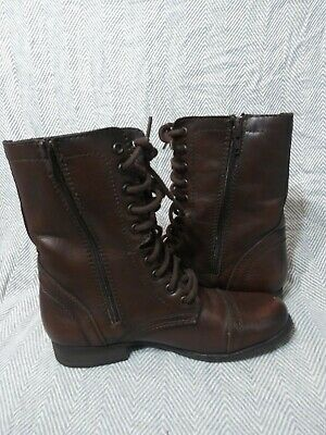 STEVE MADDEN dark brown womens size 7 Troopa combat boots leather zip up