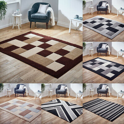 New Modern Rug Geometric Blocks Carved Super Quality Thick Pile Rugs at Low Cost