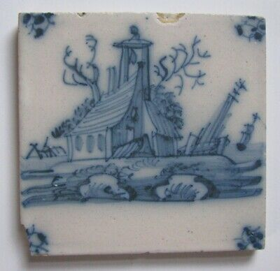 ANTIQUE Delft tile, HOUSE on ISLAND TALL SHIPS – Netherlands, 18th century