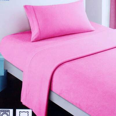 Polar Fleece Sheet Set - Rose Bloom pink single bed size girls