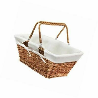 White JVL Split Willow Shopping Storage Basket with Lining Wood
