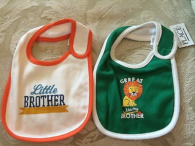 The Childrens Place Infant Baby Boy Bib Bibs 2 Pack Lot Little Brother NWT TCP