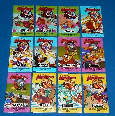 1990's Nestle 15g Milk Chocolate Disney Adventures Lot of 12 Different Wrappers