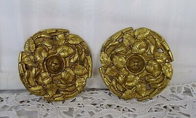 Antique French 2 Large Gilt Bronze Decoratives Rosette- Medallions-Furniture