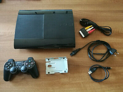 Sony PlayStation PS3 SuperSlim 12GB console + controller Dual Shock + caddy hd