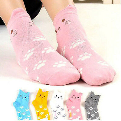 Style Candy Color Fashion Cat Footprints Cute Cotton Socks Warm for Women