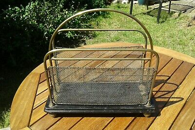 Antique Edwardian Magazine Rack Brass and Wood