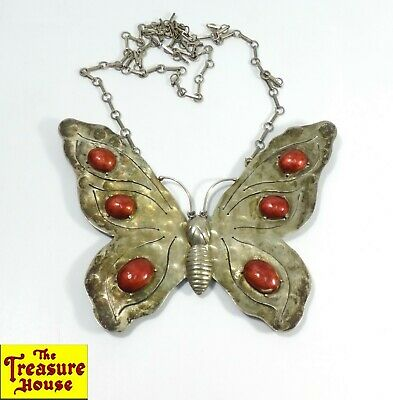 Vintage/Antique Hand Made Enamel & Solid Silver Large Butterfly Pendant Necklace