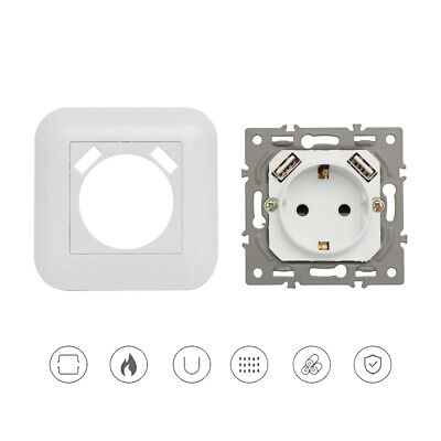 Switch Dual USB Port White EU Socket Power Outlet Plug Panel Wall Charger