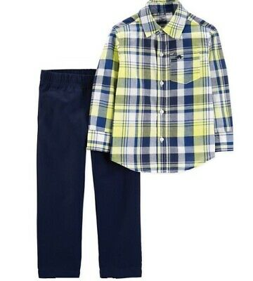 Boys 5T Carters 2 Pc Outfit Yellow & Blue Plaid Shirt and Blue Chino Pants NWT