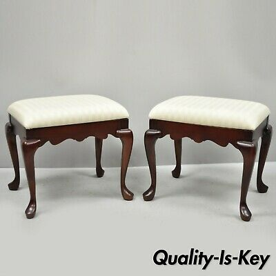 Pair Vintage Pennsylvania House Queen Anne Cherry Wood Upholstered Stools Bench