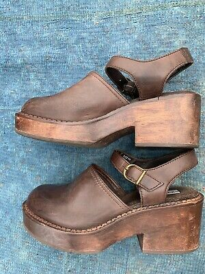 91e690672421e VTG 90'S STEVE Madden Platform High Heel brown Leather Zipper Chunky ...