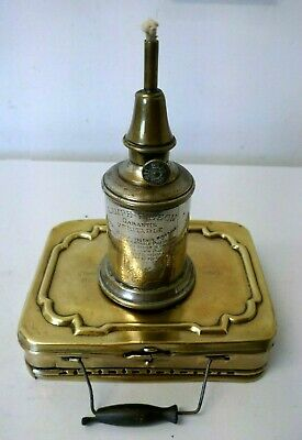 "Antique Brass French Carriage Warmer Box + a French ""Pigeon"" Mineral Lamp"