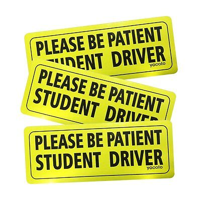 Set of 3 Please Be Patient Student Driver Safety Sign Vehicle Bumper Magnet -...
