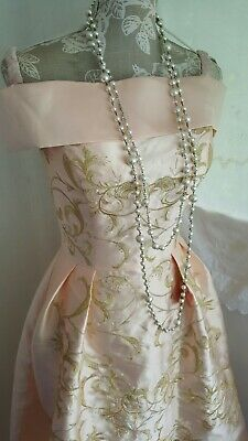 Vtg 1920,s style Downton Gatsby nude pink embroidered wedding dress size 10 uk
