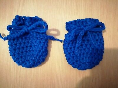 100% Cotton Handmade Crochet Newborn Scratch Mitts Royal blue