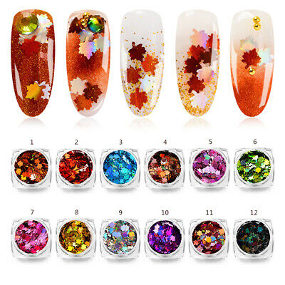 Holographic Nail Art Glitter Sequins Maple Leaf Flakes 1g Gel Polish Tips Decor
