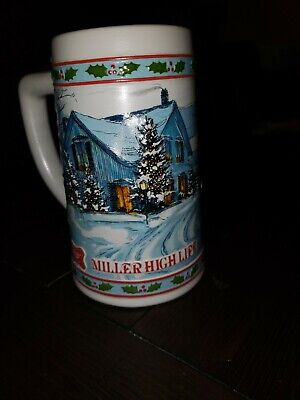 Miller High Life Beer Holiday Ceramic Collectible Stein Mug Vintage Collectable