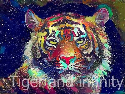 Digital art. Tiger and infinity. For screensaver or computer wallpaper.