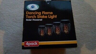 Solar Dancing Flame Torch Stake Light Led Flickering Outdoor Lights (Pack Of 4)