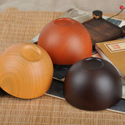 FP- DV_ Japanese Style Wooden Bowl Soup/Salad/Fruit Rice Bowls Tableware Gadget