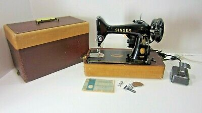 Vintage Singer Model 99-31 Sewing Machine with Case & Instructions